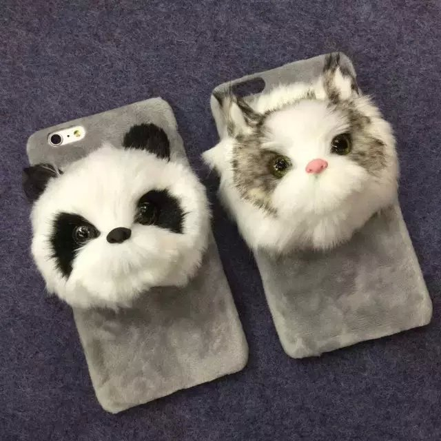 Buy Cute Pet Cat Panda Fox Smooth Plush Soft Warm Cover Case For iPhone 6 Plus 6S