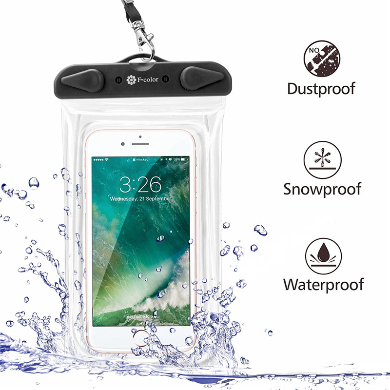 Universal PVC IPX8 Waterproof Clear Touch Screen Phone Case Underwater Dry Bag Surfing Swimming Bag