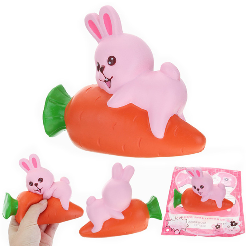 Bunny Cream Puff Squishy : YunXin Squishy Rabbit Bunny Holding Carrot 13cm Slow Rising With Packaging Collection Gift Decor ...