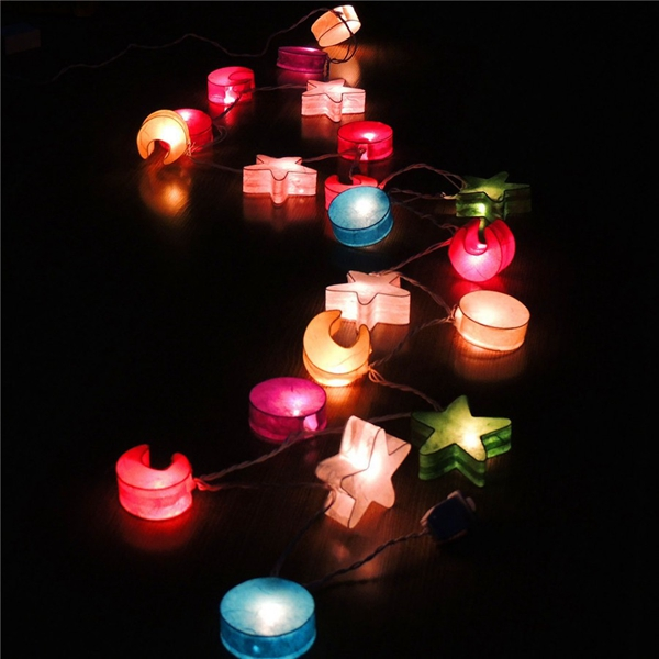3m 20 led paper moon star string lights for party