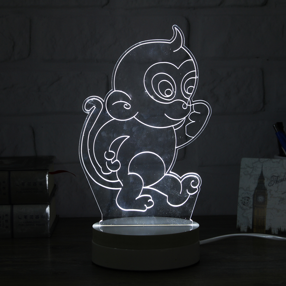 3d Monkey Shape Led Night Light Table Desk Acrylic Lamp
