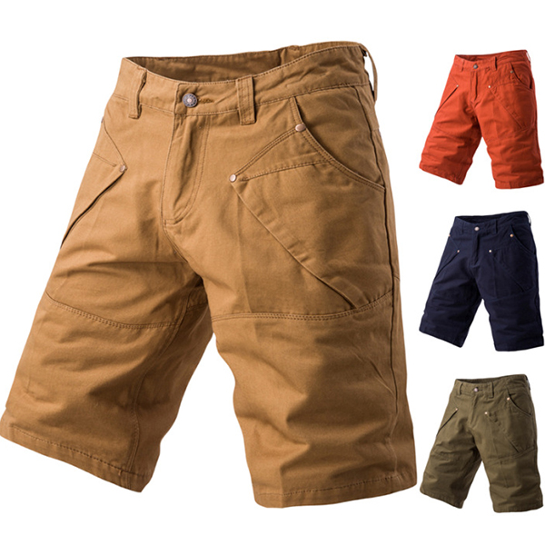 Summer Mens Casual Cargo Shorts Pants Pure Color Multi Pocket Trousers