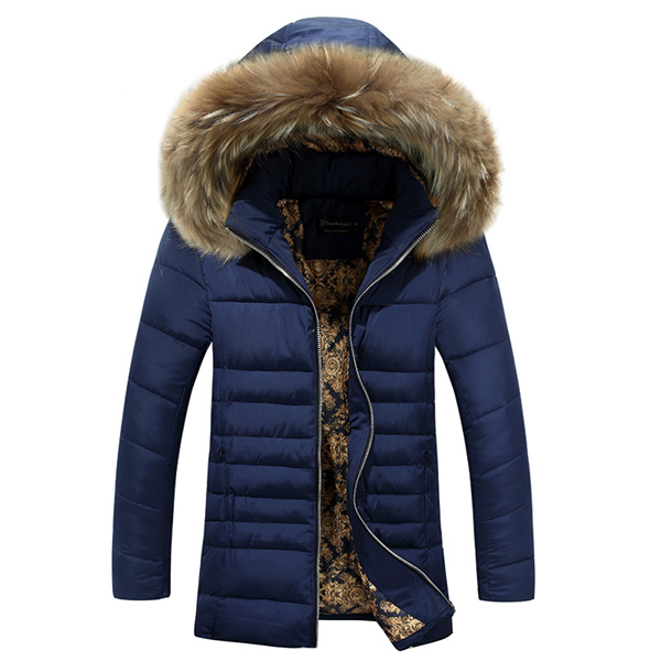 Buy Mens Thick Warm Windproof Fur Hooded Padded Jacket Parkas