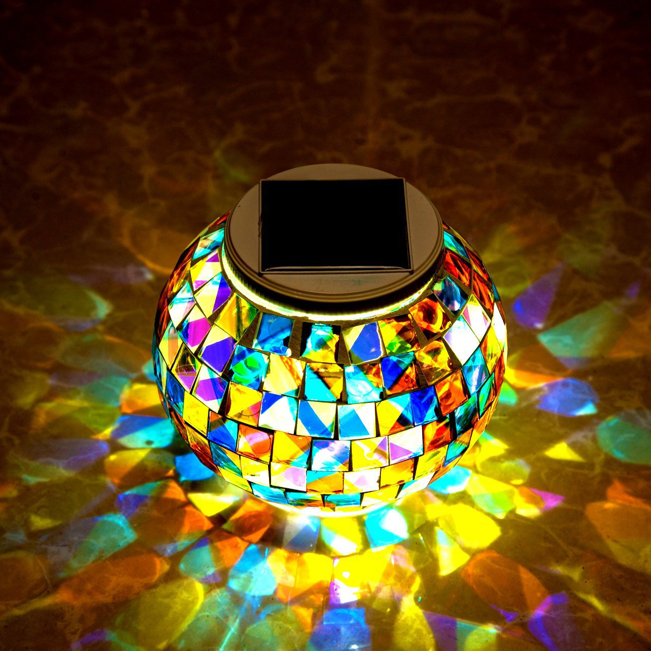 Garden Solar Power Mosaic Glass Ball Colorful Led Light