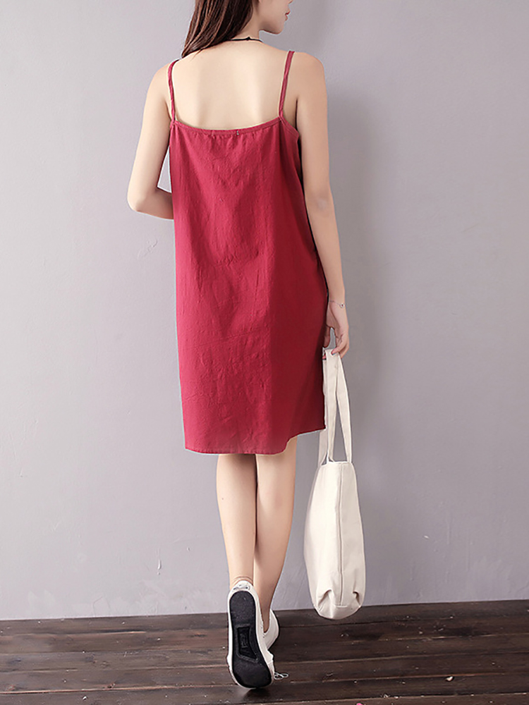 Casual Strap Sleeveless Pure Color A-line Mini Dresses