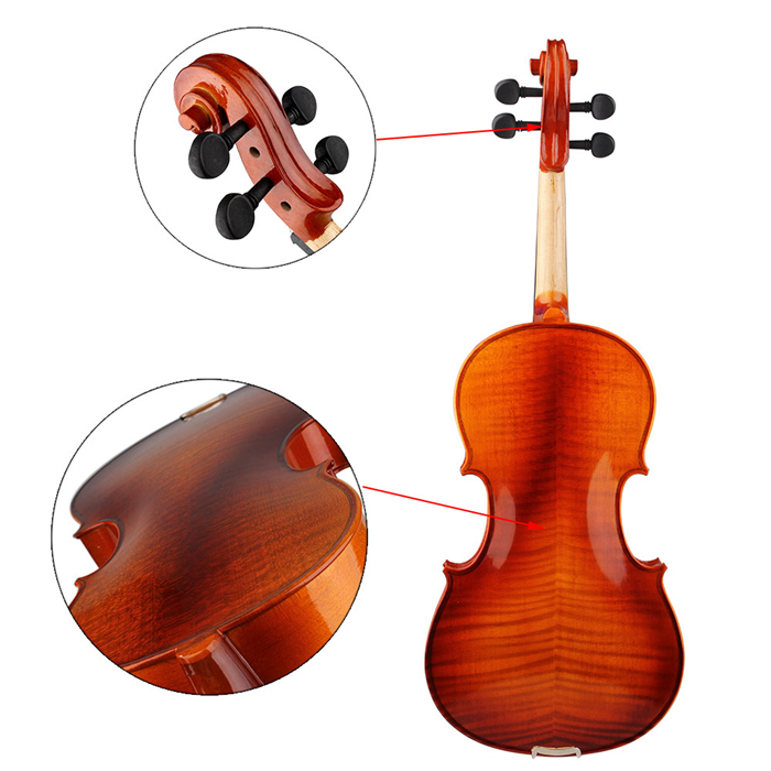 Aston 16 Inches Spruce Wood Tiger Stripe Viola with Case Bow Rosin  AU-20 - Photo: 6