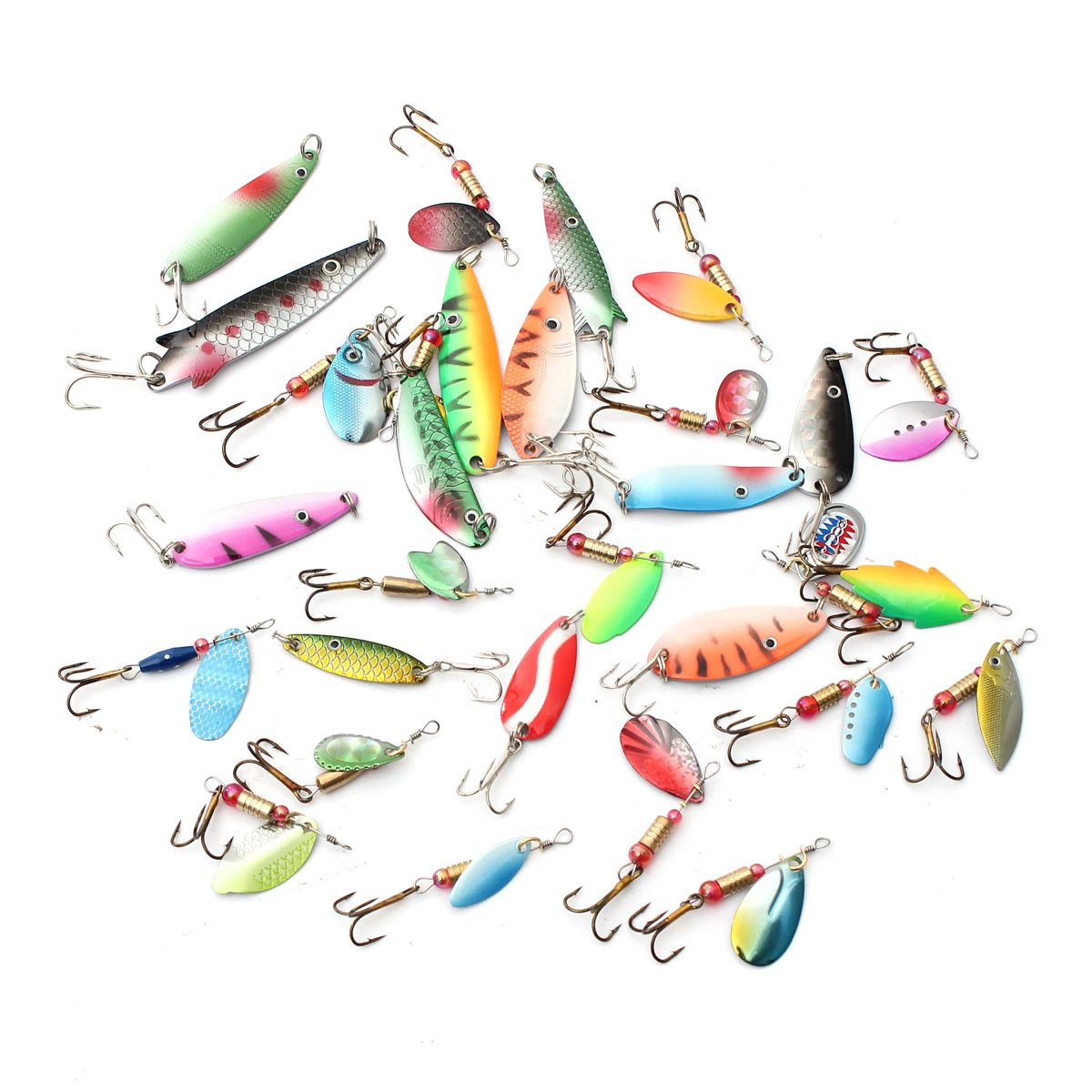 ZANLURE 30pcs Assorted Spinner Baits Metal Fishing Lures Fish Hooks Tackle