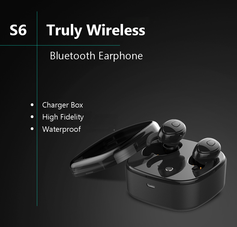 [Truly Wireless] S6 Portable 1200mAh Charger Box DSP Noise Cancelling Bluetooth Earphone
