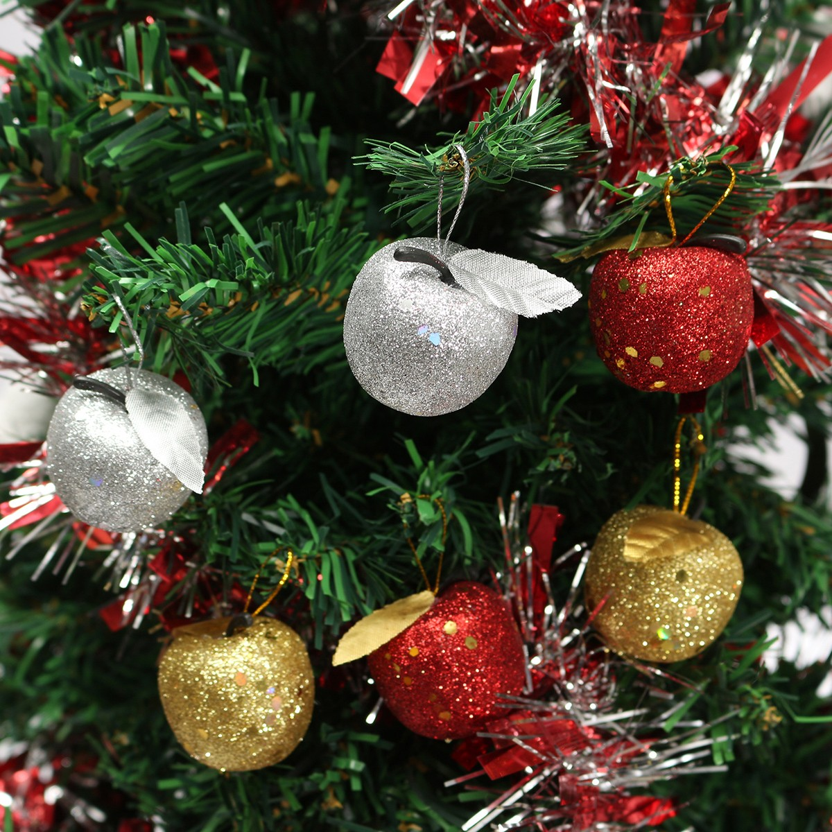 6Pcs Christmas Tree Glitter Apple Baubles Ornament Xmas Party Wedding  Decoration