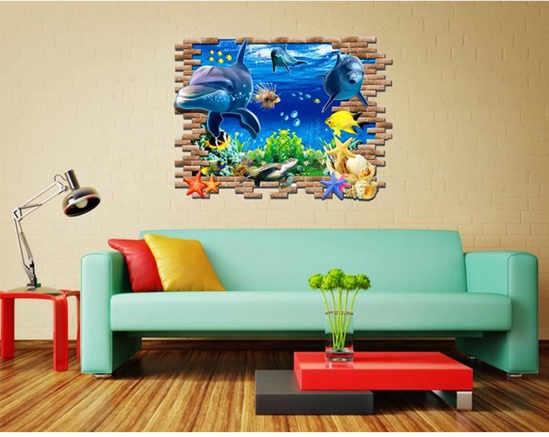 3d azul del mar mundo delf n etiqueta de la pared de la for Decoracion hogar 3d
