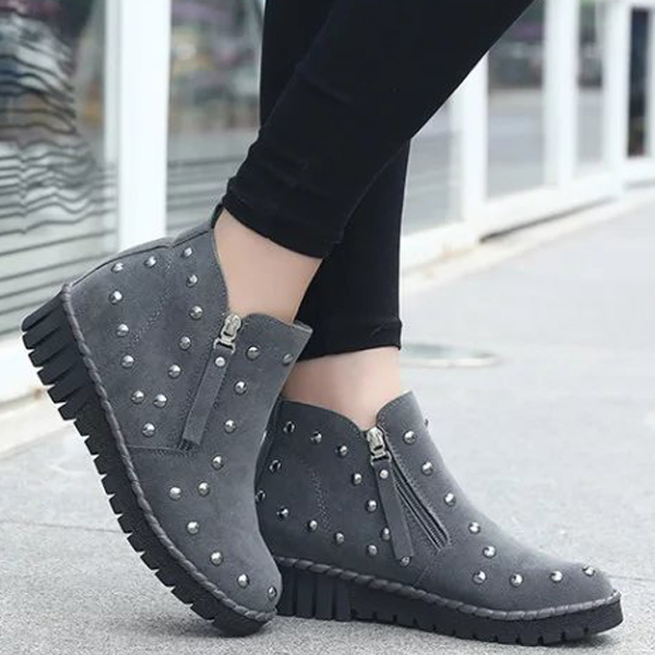 Women Casual Short Boots Slip On Outdoor Suede Round Toe Flat Shoes