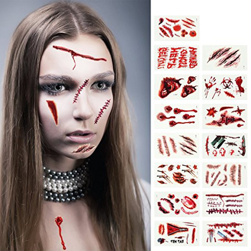 5Pcs Halloween Horror Fidelity Blood Scarring Tattoo Pa