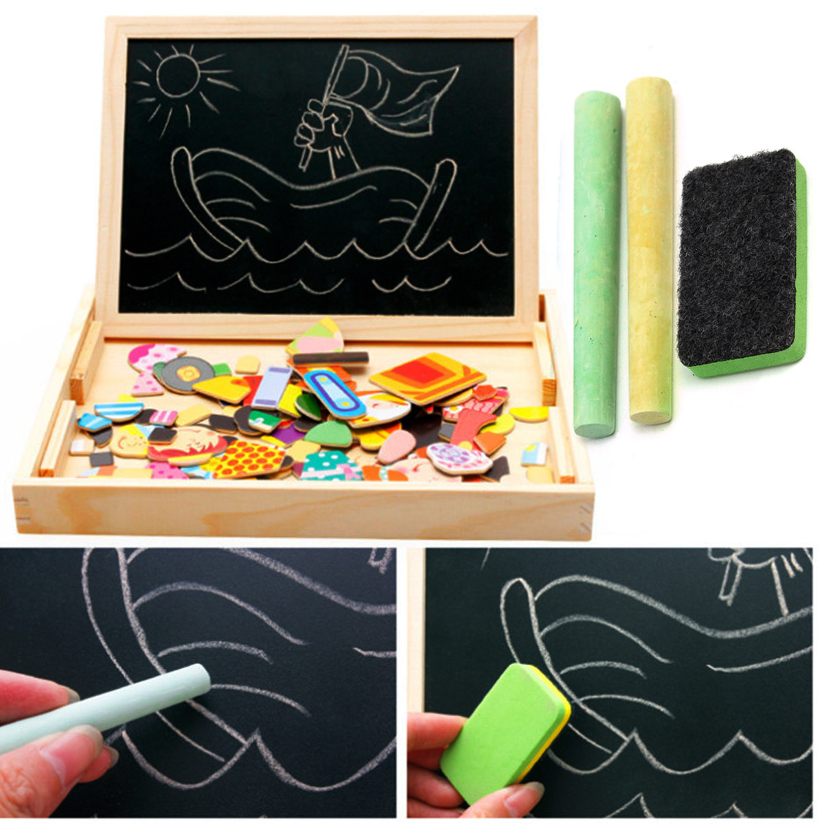 Buy Kids Educational Learning Wooden Magnetic Drawing Board Jigsaw Puzzle Toys