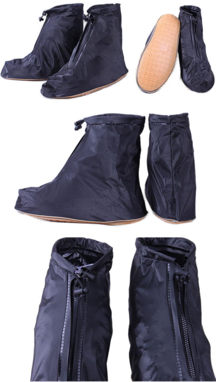 Homens Mulheres Rain Shoes Cover Zipper Ankleboots Impermeável Flat Slip Resistant Overshoes Acessórios