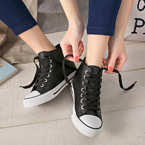 Women Chic Lace Up Casual Shoes High Top PU Leather Platform Shoes