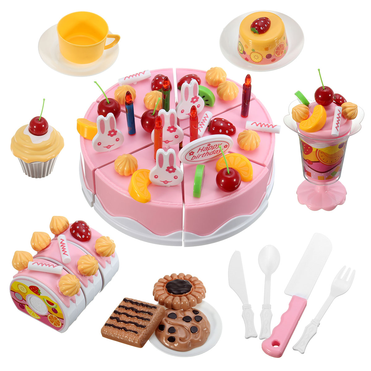 Buy 7DIY Fruitcake Cake Sweet Drink Kids Role Play Kitchen Toy Gift ABS Plastic