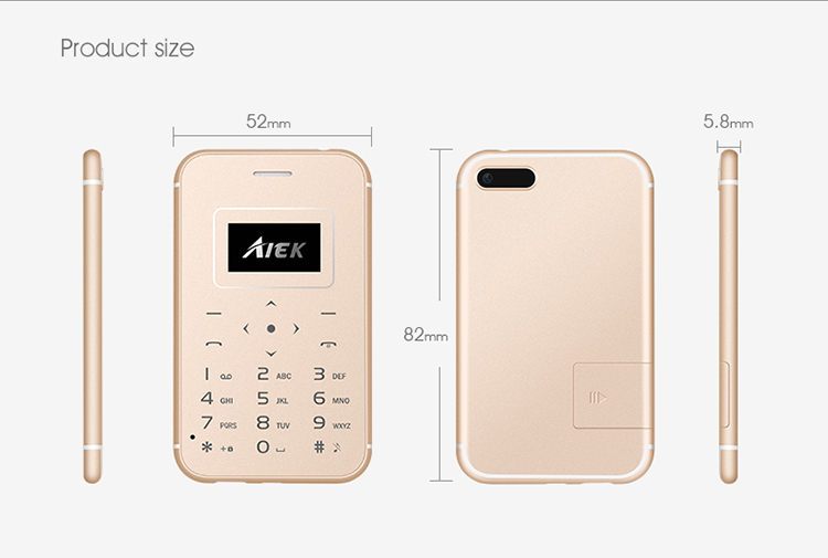 AIEK X8 0.96 Inch 320mAh 4.8mm Long Standby Ultra-thin Pocket Mini Card Mobile Phone