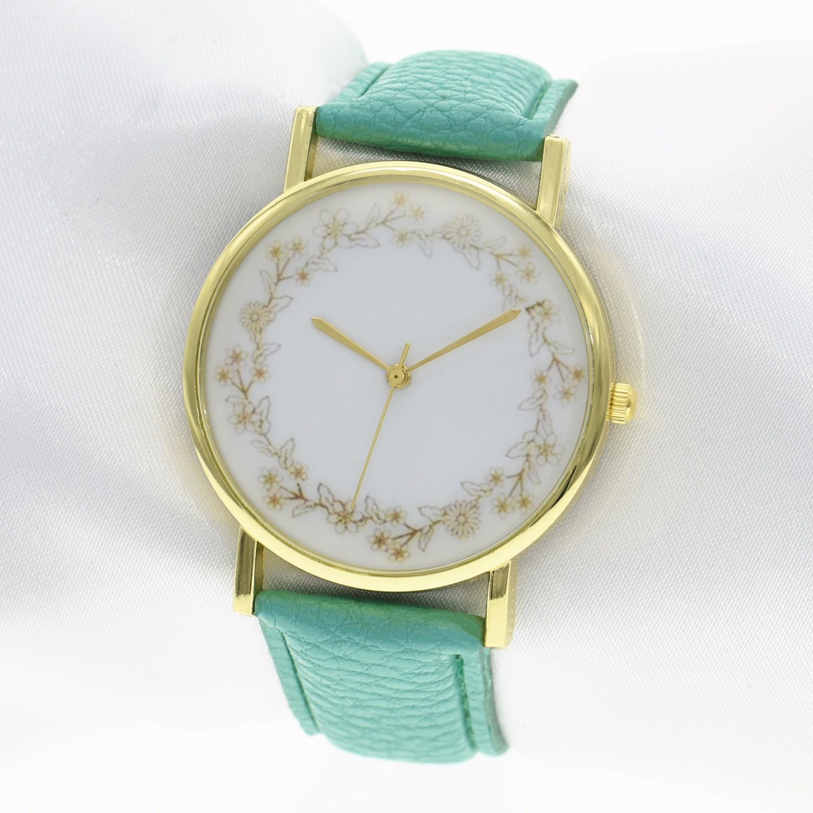 Casual Simple Elegant Flower Garland Leather Band Ladies Women Quartz Wrist Watches