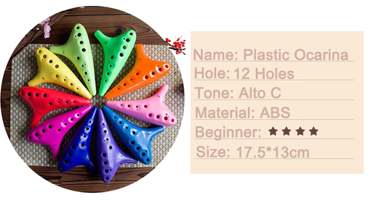 12 Hole Thicken ABS Plastic Alto C Ocarina For Beginner Gift - Photo: 3
