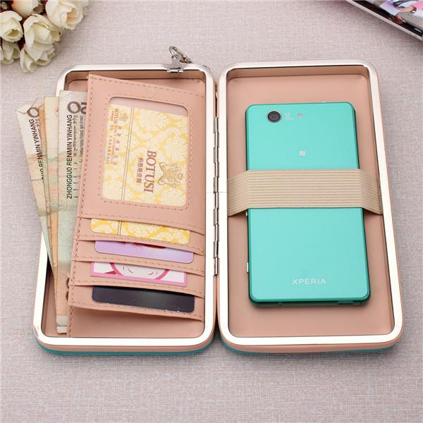 Women High Heels Phone Wallets Case Long Purse 5.5 Inch Phone Bags For Iphone Xiaomi Huawei Samsung