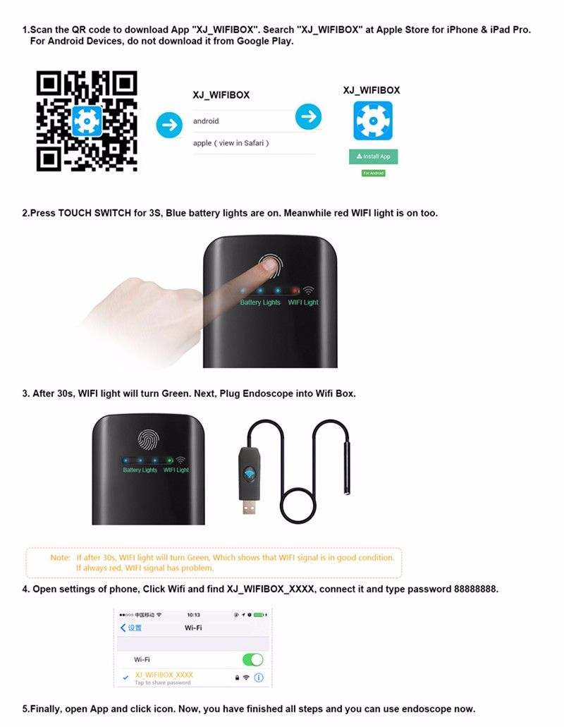 1M/2M/5M 7mm IP67 Waterproof Endoscope Borescope + 2000mAh Wireless WiFi Box For IOS Android Windows