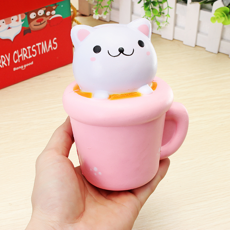 Squishy Cat Desk Toy : Squishy Jumbo Teacup Cat Kitten 14cm Slow Rising Soft Animal Pet Collection Gift Decor Toy Sale ...