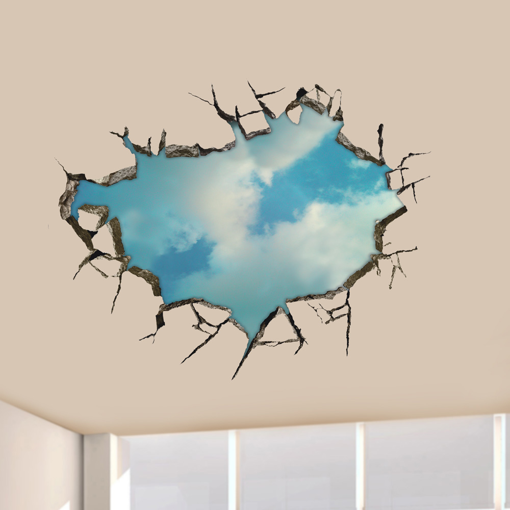 3D Sky Wall Decals Ceiling Hole Wall Art Stickers 22 Inch Removable Home Decor at Banggood