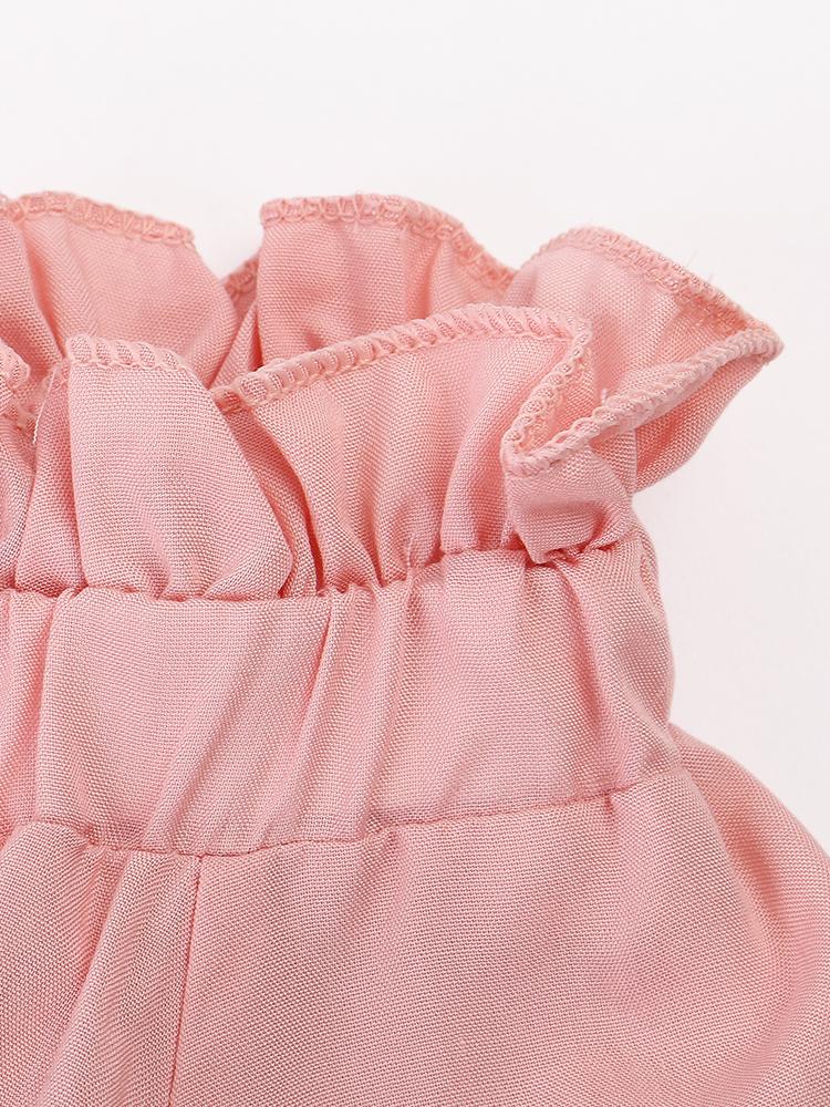 Women Off-shoulder Flouncing Tie Front Long Horn Sleeve Blouses