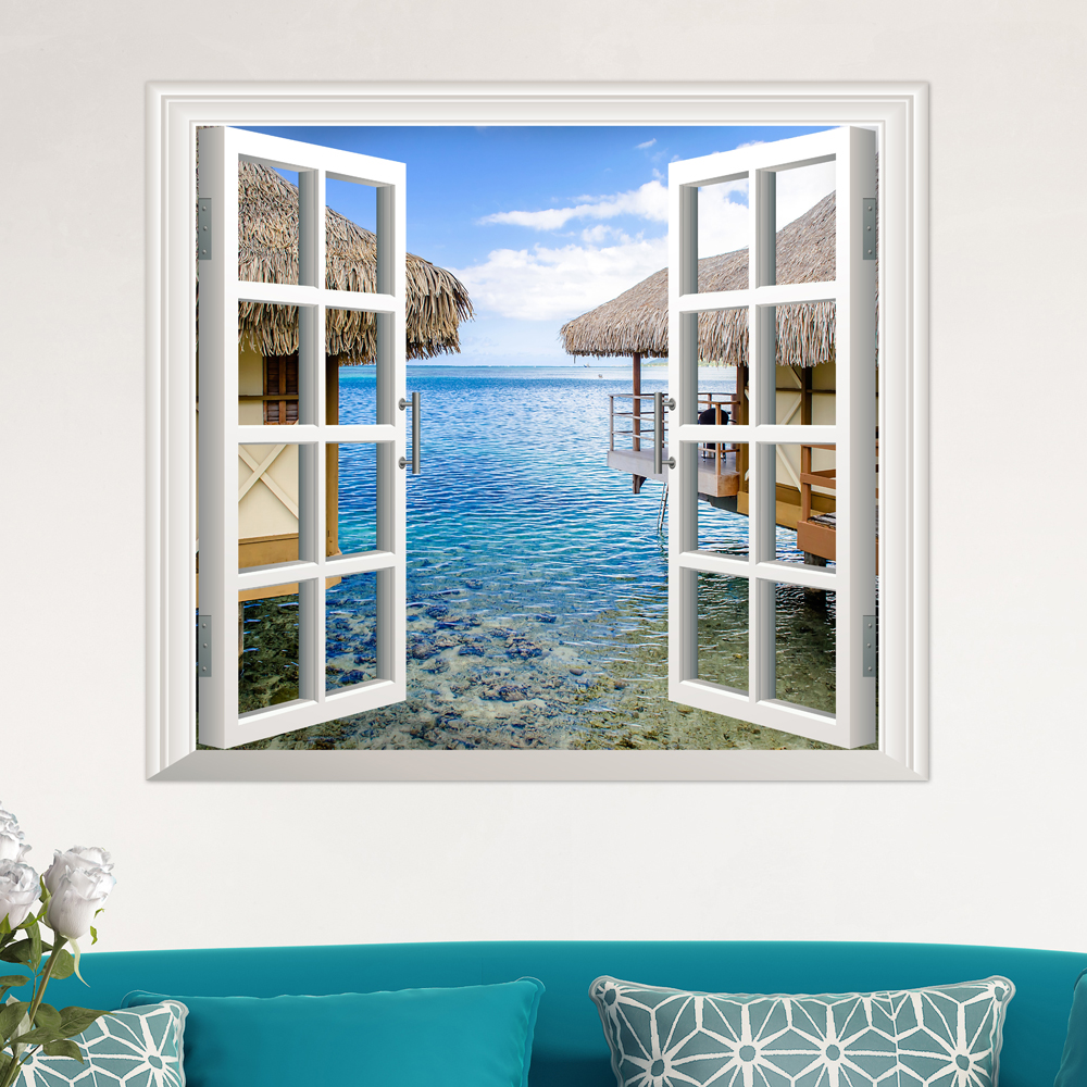 3d artificial window view 3d wall decals sea view room for Windows products