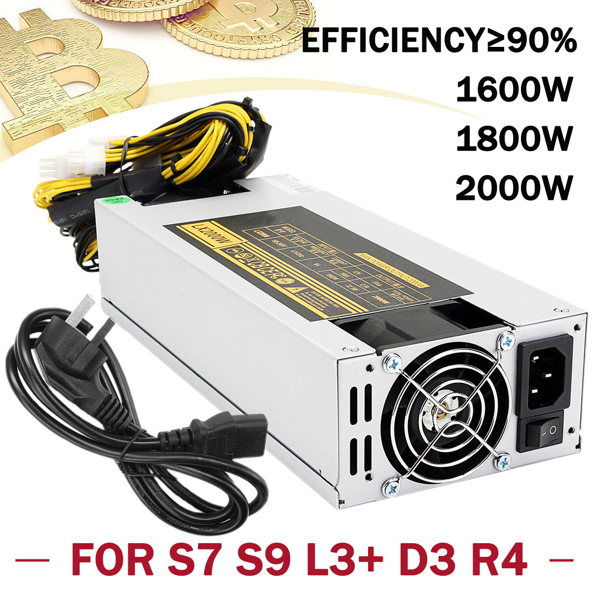 1600W/1800W/2000W Mining Power Supply Power Mining Machine Mining Rig For S7 S9 L3+ D3 R4