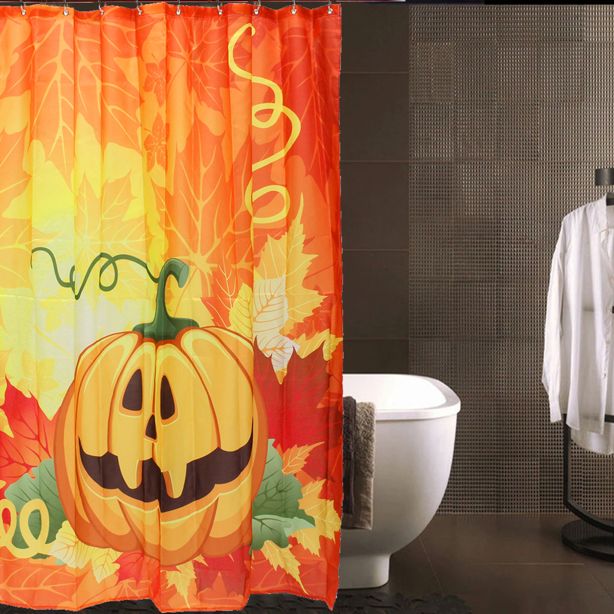 Halloween shower curtain - 150x180cm 3d Halloween Ghost Pumpkin Polyester Shower Curtain Bathroom Decor With 12 Hooks