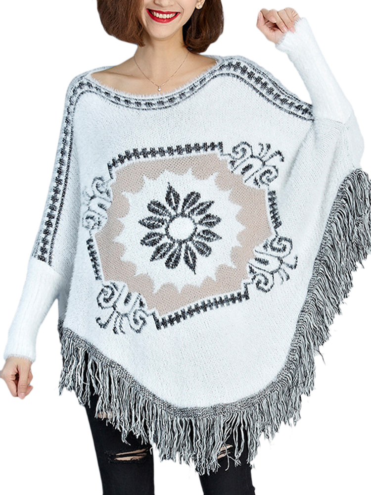 Buy Women Loose Batwing Tassel Knitted Sweater Cape Coat