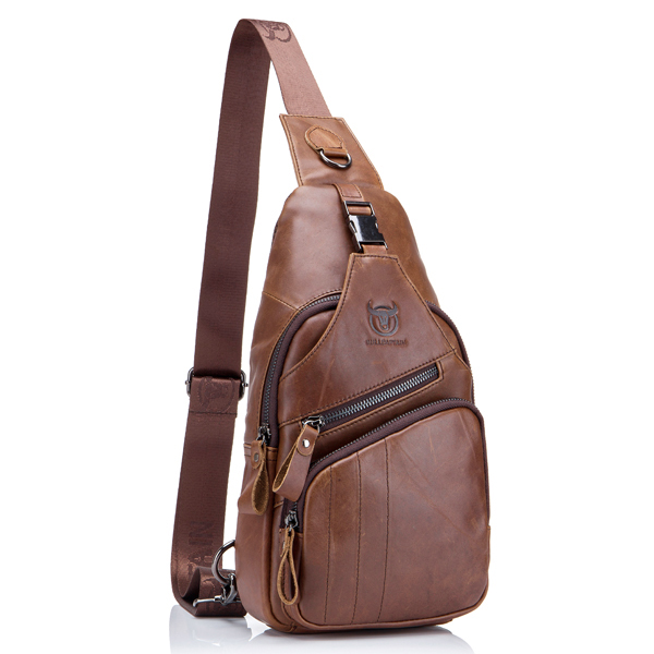 Bullcaptain 174 Men Leather Sling Bag Crossbody Bag Large