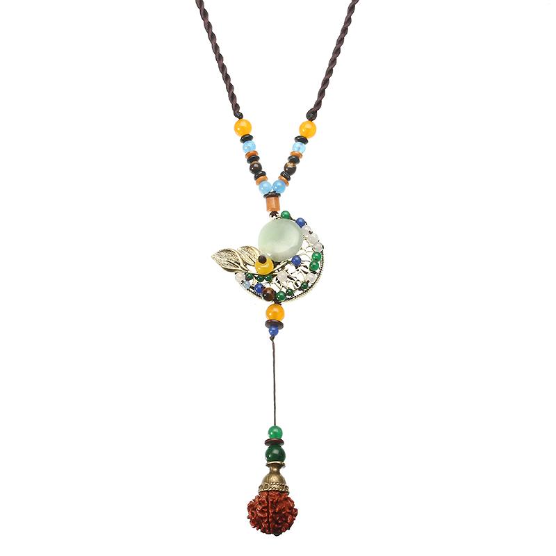 Estilo Étnico Collar Luna Jade Cuerda vendimia Collar para Mujer