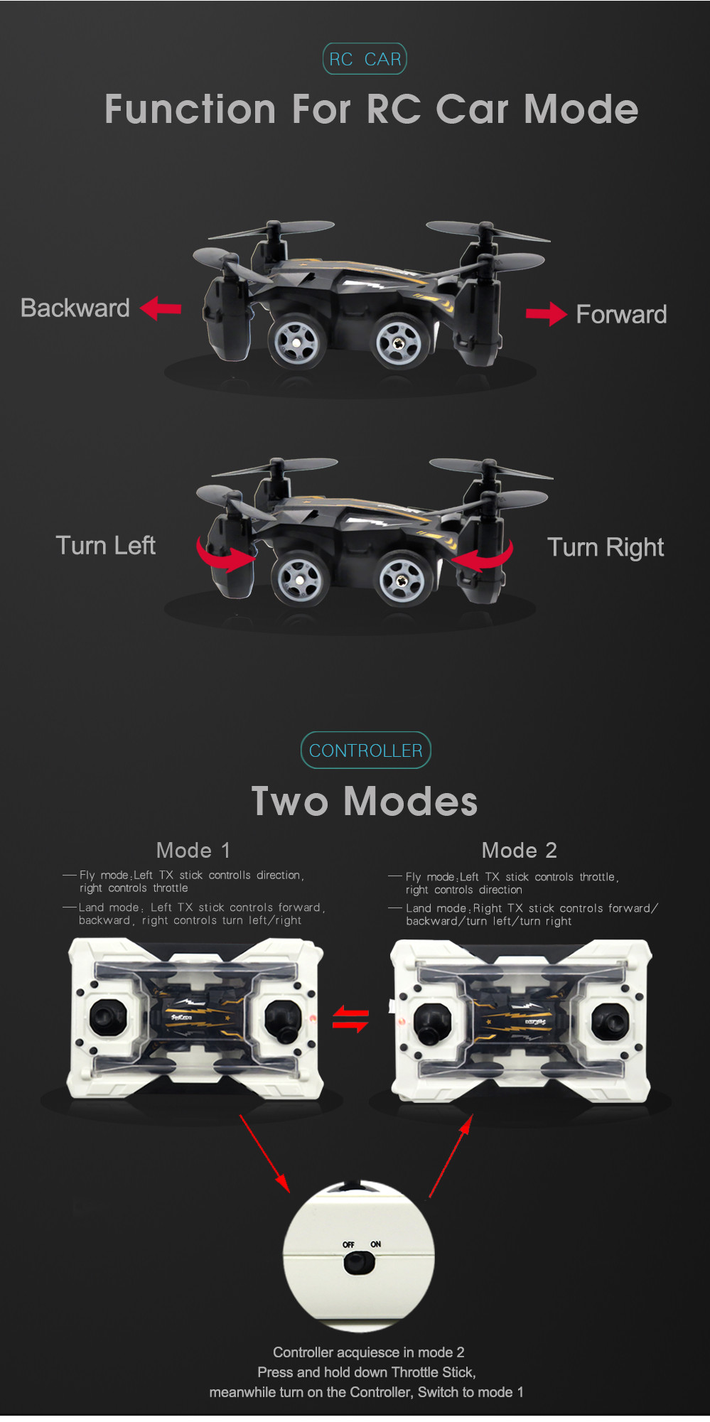 Flytec SBEGO 132 Headless Air Land Mode Pocket Drone Quadcopter With Switchable Transmitter RTF