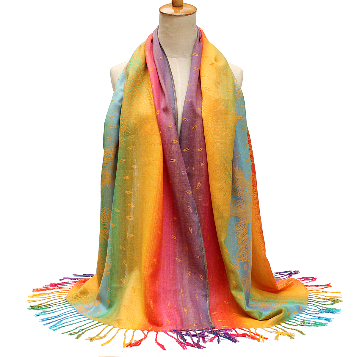 Buy Women Ladies Cotton Mixed Color Feather Printed Tassel Scarves Colorful Stole Shawl Wrap Scarf