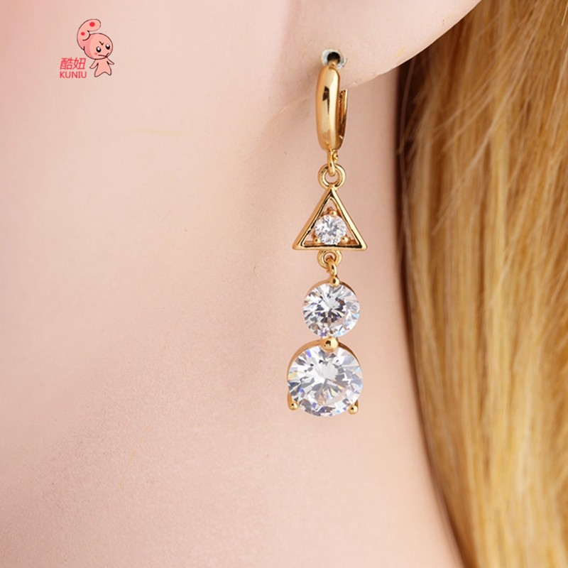 Kuniu Triangle Cubic Zircon Crystal Dangle Hoop Earrings For Women
