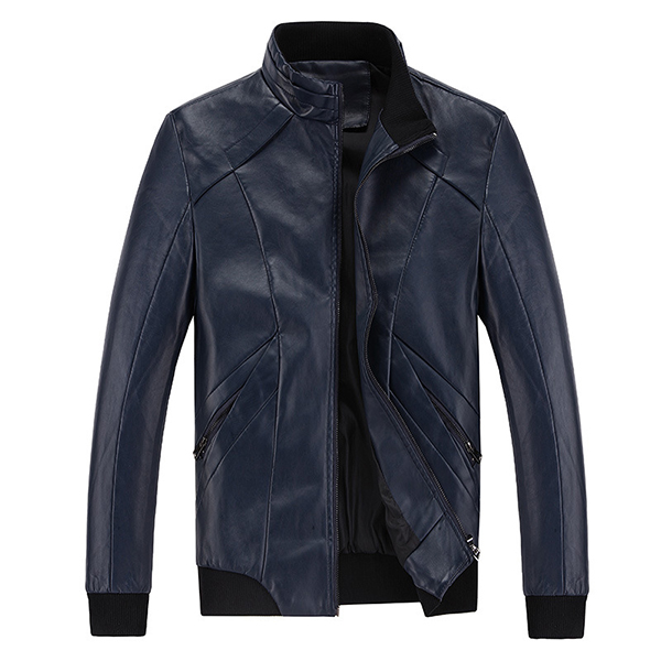 Buy Mens PU Leather Stand Collar Jacket Business Outdoor Solid Color Casual Coat