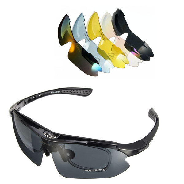 Outdoor UV400 Polarized Glasses Cycling Bike Bicycle Sunglasses Goggles With 5 lens