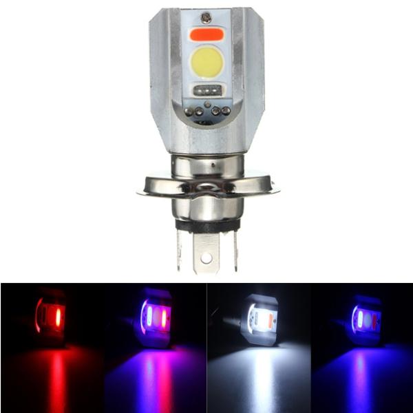 H4 12-24V Motorcycle LED COB Hi/Lo Beam Front Headlight Bulb Lamp 3 Colors
