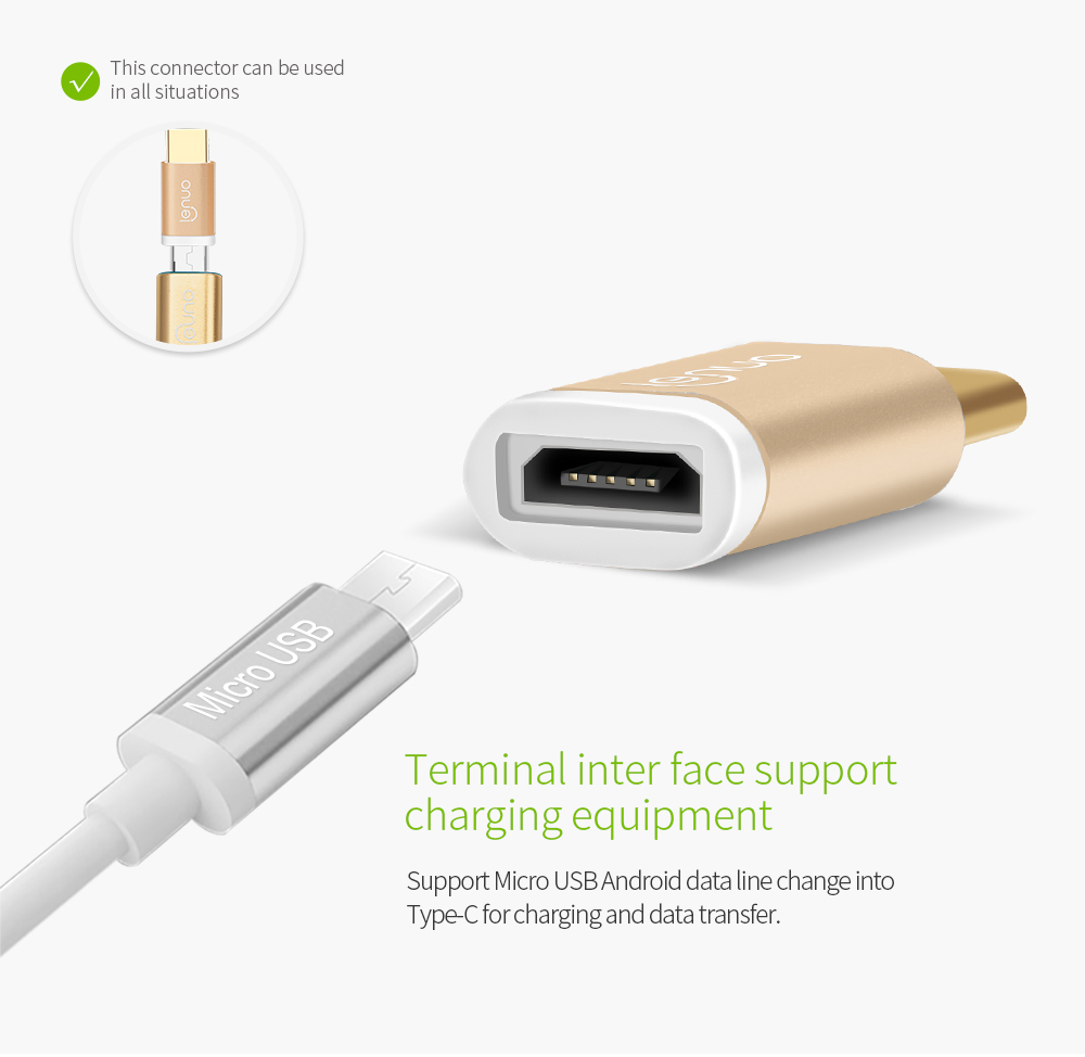 lenuo usb type c to micro usb adapter type c male to micro. Black Bedroom Furniture Sets. Home Design Ideas