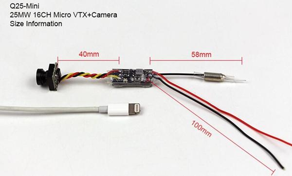 Kingkong Q25-Mini 5.8G 25MW 16CH VTX 600TVL CMOS 1/4 Micro FPV Camera   - Photo: 2