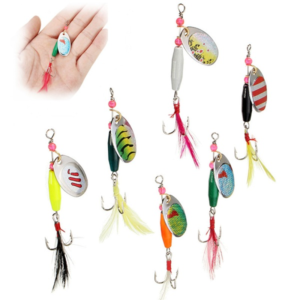 6pcs Spoon Metal Fishing Lures Crankbaits Bass Tackle H