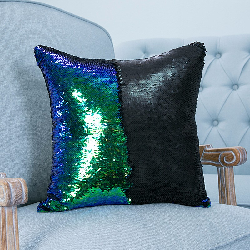 reversible sequin mermaid pillowcase magical color changing pillow cushion cover home car decor - Color Changing Pillow