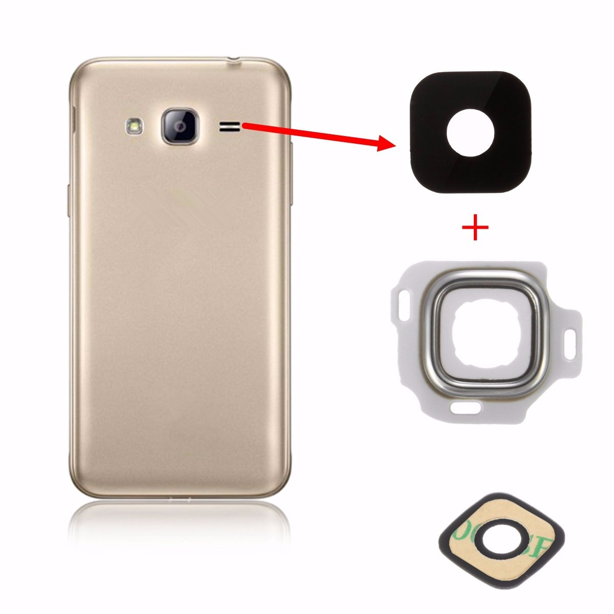 Back Rear Camera Glass Frame Holder Lens Cover For Samsung Galaxy J3 2016