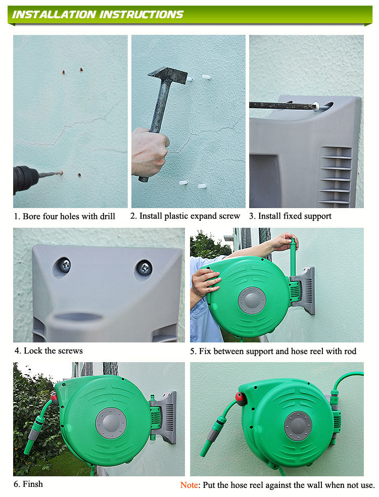 DAYE Auto Roll Up Retractable Garden Wall Mounted Water Hose Reel With  Hight Pressure