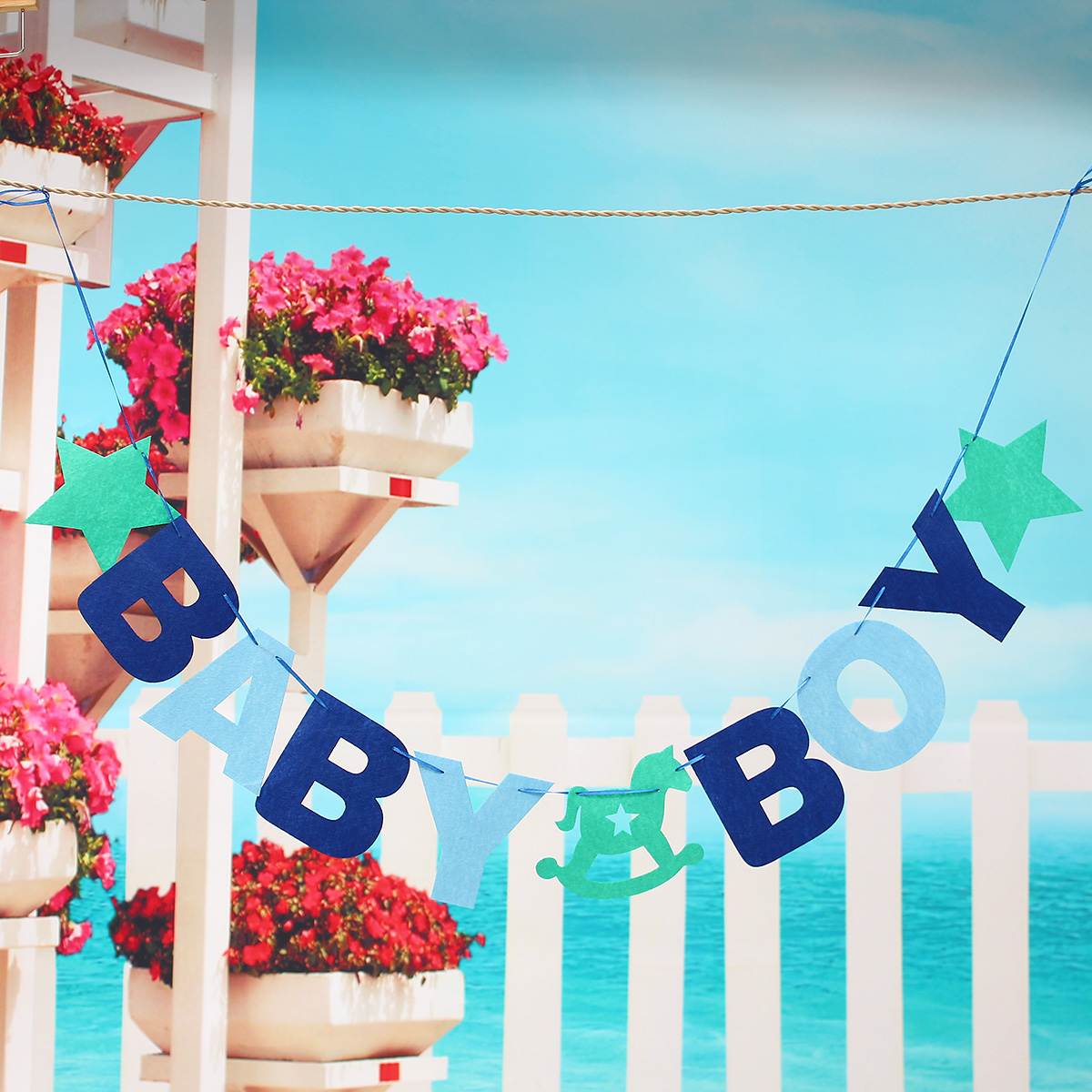 BABY BOY Baby Shower Bunting Garland Hanging Banner Flag Christening Party Decor - Photo: 1