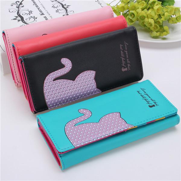 Women Cute Cartoon Cat Wallet Girls Candy Color Long Purse Card Holder Coin Bags