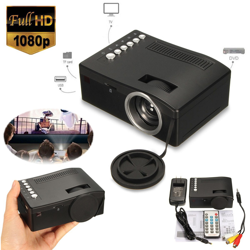 full hd 1080p home theater led mini portable projector cinema usb tv vga tf av sale. Black Bedroom Furniture Sets. Home Design Ideas