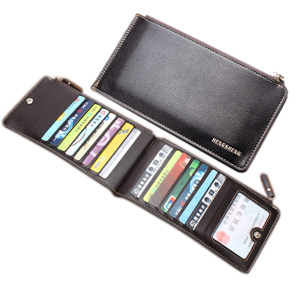 HENGSHENG Classical PU Leather Double Zippers Multi-Card Holder Wallet For Men